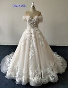 Custom Off-the-shoulder A-line Wedding Dress With Tulle And Lace Appliquandeacutesandnbsp