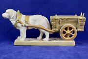 Antique Royal Dux St. Bernard/pyrenees Working Dog With Cart Pink E Triangle