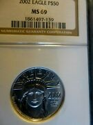 2002 Eagle 1/2 Ounce Certified Platinum Graded Ms 69 By Ngc