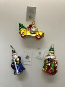 Rare Set Of 3 Christopher Radko Christmas Ornaments- Little Tree Taxi And Noel
