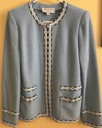 St John Marie Gray Excellent Light Blue Woven Trim Size 8 Jacket Blazer
