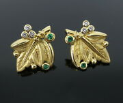 Rare Temple St Clair Emerald And Diamond 18k Yellow Gold Leaf Shape Earrings