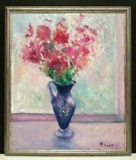 2007 American Phyllis Brodsky Sd Still Life Flowers In Ewer Happiness Orig O/c