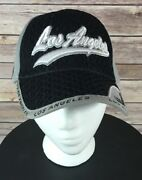 Los Angeles Baseball Cap Black/white Polyester Adjustable Closure Embroidered