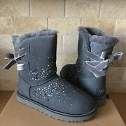 Ugg Classic Galaxy Bling Short Bailey Bow Charcoal Suede Boots Size Us 7 Womens
