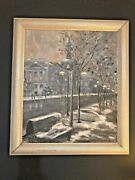 Framed Urban Snow Scene Winter Oil /canv. Painting Signed M. Herbert And03993 28x25