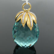 Estate 1.0ct Diamond And 18k Yellow Gold Turquoise Glass Berry Pendant