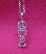 Jane Seymour Open Heart 1/5ct Diamond Sterling Silver Peace Necklace Prior Ship