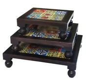 Wood Chowki Bajot Small Stool Tiles Fitted Polished Set Of 3 Indian Home Art