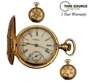Vintage Waltham Manual Wind 14k Solid Yellow Gold 0s 34.5mm Hunter Pocket Watch