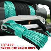 1/4 X 50and039 Synthetic Winch Rope Line Cable 10000lbs W/ Sheath For Atv Utv Boat