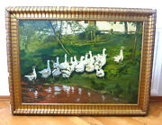 Xl Painting Sign J. Maes 6.2.1934 Geese Oil Painting Picture