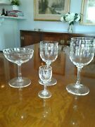 Antique/vintage French Etched Clear Crystal Stemware 35 Pc Set