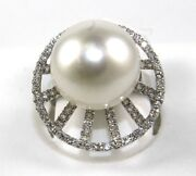 Natural South Sea Pearl And Diamond Solitaire Ring 18k White Gold 15mm 1.08ct