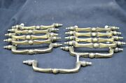 Group Of 11 Salvaged Gold Colored Metal 5 Long Drawer Pulls 852 W/hardware
