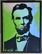 Framed. Steve Kaufman Colorful Original Andldquo Abe Lincolnandrdquo. Hand Signed By Kaufman.