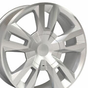 5821 Silver 22x9 Wheel Set Of 4 Fits Gmc Cadillac Chevy Rst Style