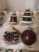 Vtg Shiny Brite Atomic Indent Bell Ombre Mica Stripe Christmas Tree Ornament