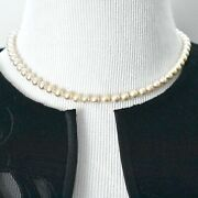 Vtg Faux Pearl Choker Necklace Knotted Rope Mid Century Costume Estate Jewelry