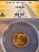 1918 Lincoln Wheat Cent Ms65rb Anacs Graded 750