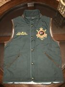 Gentandrsquos Sz Medium Hunter Lined Vest And Leather Accents Forest Green