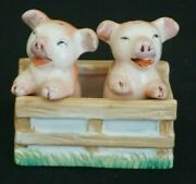 3 Vintage Two Pigs In A Pen - Salt And Pepper Shaker Made In Occupied Japan