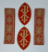 Vestment Alb Px Cross Banding + Emblems Lot Gold Lame On Bright Red 3 Wide