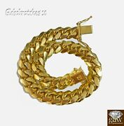 Solid 10k Yellow Gold Miami Cuban Bracelet Box Lock Strong Heavy Link 9mm Real