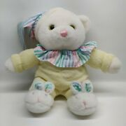 Dandee Teddy Bear Yellow Terry Cloth Bunny Slippers Rattle Hat Plush Baby