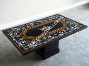 6and039x3and039 Marble Dining Table Top And Stand Bird Inlay Marquetry Hallway Decor E630a