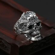 Real Sterling Silver Skull Adjustable Punk Ring Skeletons Gothic Vintage Jewelry