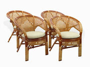 Set Of 4 Pelangi Rattan Wicker Lounge Dining Chairs 3 Colors