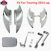 Chrome Front Floorboards Brake Arm Shift Lever Set Pedal Fit For Touring 2014-up