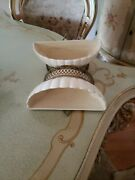 Pair Of Vintage Hanging Wall Pocket Planters - Ivory White And Gold Metal