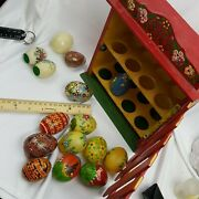 Lot Of Healing Eggs Chinese Oriental Gold Enamel Cloisonne With Display Case