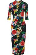 Alice + Olivia Delora Mock Neck Fitted Dress Valley Lake Floral Black Size 6 Nwt