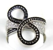 Natural Round Diamond Cluster Infinity 8 Loop Ring Band 14k White Gold .71ct
