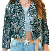 Collection Blue Floral Painted Python Moto Jacket