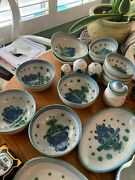 M.a. Hadley Blueberry Bouquet Dishware Set Pottery Dinning Set Blue And Green
