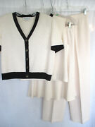 St. John Collection 4 Piece Set Ivory Sweater 10 Shell Med. Pant 6 Skirt 8