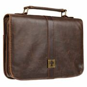 Medium Distressed Leather Look Bible Book Cover Protective Case With Cross Badge