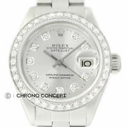 Rolex Ladies Datejust 18k White Gold And Stainless Steel Silver Diamond Dial Watch
