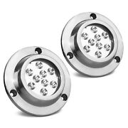 Round 9 Blue Led Underwater Boat Light With Stainless Steel Bezel