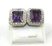 Emerald Cut Purple Amethyst And Diamond Halo Square Earrings 14k White Gold 6.10ct
