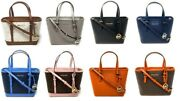 Jet Set Travel Leather Xs Carryall Zip Convertible Tote Satchel Bag