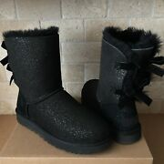 Ugg Short Bailey Bow Ii Twinkle Black Suede Classic Boots Size Us 7 Womens