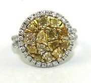 Natural Canary Yellow Diamond Cluster Circle Mix Cut Ring 14k White Gold 2.27ct