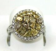 Natural Canary Yellow Round Diamond Cluster Mix Cut Ring 14k White Gold 2.58ct