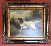 Oil Painting Signed Hunting Dog Pointer Pudelpointer Gold Frame 30 X 34