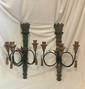 Pair Of 2 Wood Wall Sconces Candelabra Hanging 3 Candle Holder Tassels 23andrdquo T